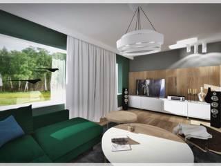 Salon z zieloną kanapą... Nowoczesny salon od Fusion- projektowanie i aranżacja wnetrz Nowoczesny
