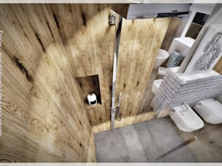 Skandynawska łazienka Skandynawska łazienka od Fusion- projektowanie i aranżacja wnetrz Skandynawski