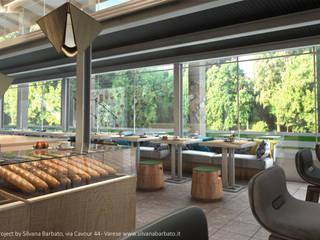 Render della zona tavoli con vista sullo splendido parco: Bar & Club in stile  di Silvana Barbato, StudioAtelier