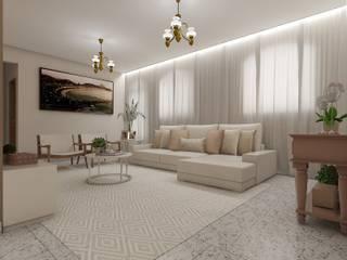Sala de estar, jantar e cozinha: Salas de estar  por Marcela Matos Arquitetura e Interiores,Minimalista