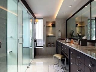 DECORACION Y FABRICACION DE MOBILIARIO SOBRE DISEÑO: Baños de estilo  por JMS DISEÑO DE INTERIORES MUEBLES Y CONSTRUCCION