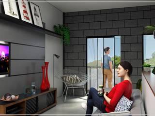Projeto de interiores | Sala de TV:   por UneLine Arquitetura
