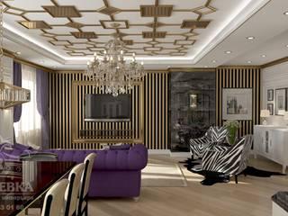 гостиная с золотым потолком: Гостиная в . Автор – мастерская интерьера РУБЛЕВКА / workshop interior RUBLEVKA