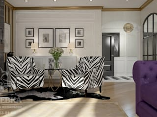 гостиная с двумя креслами: Гостиная в . Автор – мастерская интерьера РУБЛЕВКА / workshop interior RUBLEVKA