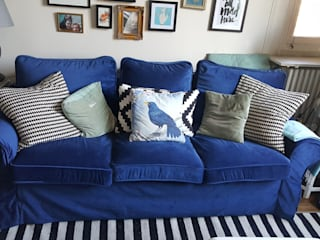 Replacement slipcovers: IKEA Ektorp Sofabed with blue velvet covers:   by Comfort Works Custom Slipcovers