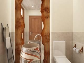 Aseo con lavamanos en vasija grande cerámica con sumidero realizada por un artista local: Baños de estilo  de horasDluz Studio