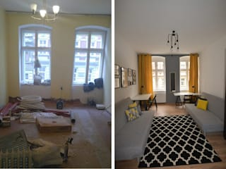 Home staging mieszkania w kamienicy we Wrocławiu od PUFA STUDIO