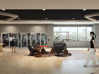 Attractive Modern Office Waiting Area Design Ideas:  Office buildings by Yantram Architectural Design Studio