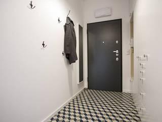 Mieszkanie na Osiedlu Zory Skandynawski korytarz, przedpokój i schody od ABU Wnętrza Skandynawski