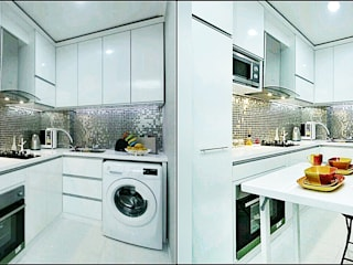 Kitchen SEt Minimalis + MEja lipat De' Catoer design & build KitchenCabinets & shelves Kayu Lapis White