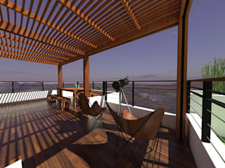 Terrza Vista Panoramica Balcones y terrazas modernos de Arquitectura Ecologista Moderno Madera maciza Multicolor