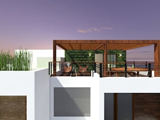 Terrza Vista Panoramica Frontal Balcones y terrazas modernos de Arquitectura Ecologista Moderno Madera maciza Multicolor