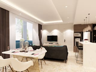 Studio Apartment - Art Deco: Ruang Makan oleh iugo design, Minimalis
