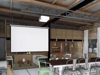 Quincho Loft Industrial Salas multimedia rústicas de ARBOL Arquitectos Rústico
