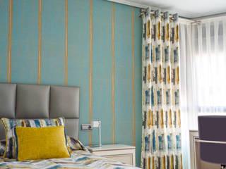 Dormitorio juvenil con textiles en turquesa y ocre Dormitorios infantiles de estilo mediterráneo de Villalba Interiorismo Mediterráneo