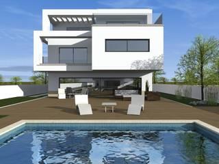 Moradia Unifamiliar: Casas  por RHARQUITECTOS,Moderno