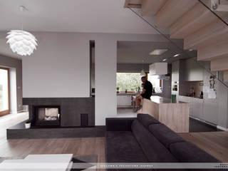 dom w Gotkowicach - salon: styl , w kategorii Salon zaprojektowany przez PRACOWNIA PROJEKTOWA JAGANNA