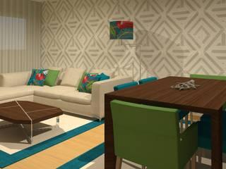Projeto 3D - Sala Oeiras: Salas de estar modernas por Veludo Vermelho Design de Interiores