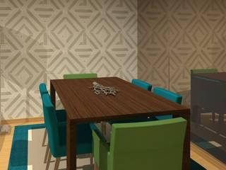 Projeto 3D - Sala Oeiras: Salas de jantar modernas por Veludo Vermelho Design de Interiores