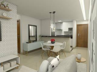 Apartamento do jovem casal Salas de jantar modernas por Home projetos Moderno