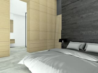 Prosta przestronna sypialnia w minimalistycznym klimacie. Minimalistyczna sypialnia od Esteti Design Minimalistyczny