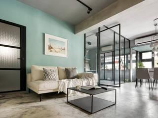 將材質做為空間呼應的主軸 磨設計 Minimalist living room
