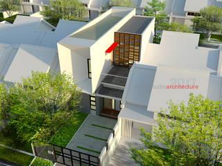 Tampak Atas Depan Rumah Bermuka Dua:  Rumah tinggal  by ARSITA STUDIO architecture