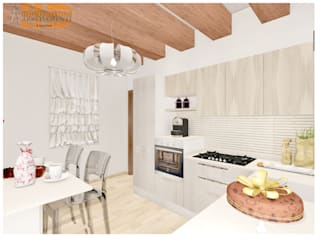 Cucina ad angolo in rovere artico e rovere nordico; Top in quarzo; Penisola snack: Cucina in stile  di House Design Arredamenti