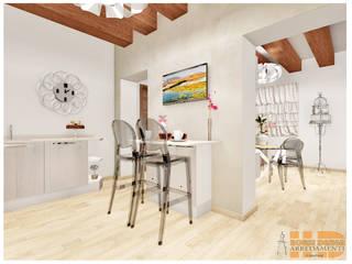 Penisola cucina, angolo snack, con basi in rovere artico; Top in quarzo : Cucina in stile  di House Design Arredamenti
