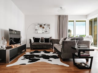 Boutique Hotel Apartment Katie Malik Interiors Modern living room Black