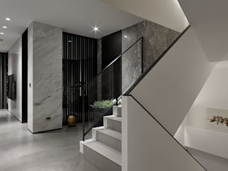 Modern Corridor, Hallway and Staircase by 構築設計 Modern