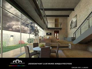 CASA DEL LAGO Salones modernos de JOSSAFHAT LUEVANO ARQUITECTOS Moderno