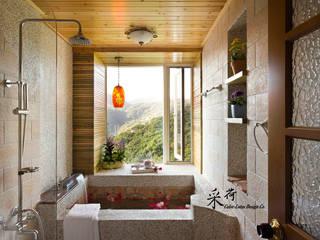 Baños de estilo  de 采荷設計(Color-Lotus Design), Rústico Pizarra