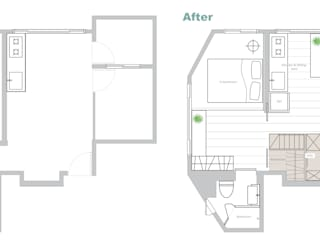 改造前后平面图对比,plan before and after:   by 一葉藍朵設計家飾所 A Lentil Design