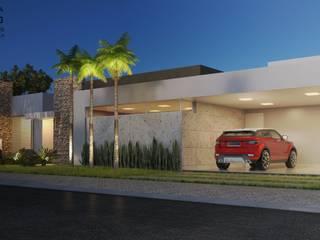 Projeto Fachada - Residência AM: Casas familiares  por Chris Brasil Arquitetura e Interiores