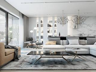 Graceful apartment in Brno, Czech Republic: Гостиная в . Автор – Diff.Studio, Минимализм