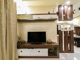 Two BHK - Whitefield:  Living room by Wenzelsmith Interior Design Pvt Ltd