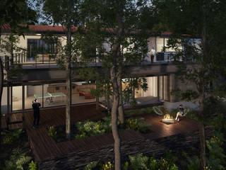 Casa Habitación Reserva de los Encinos: Terrazas de estilo  por de Silva Arquitectos