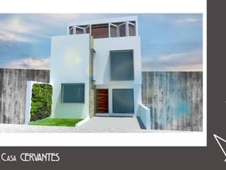 Render Exterior - Casa Cervantes: Casas unifamiliares de estilo  por Axonometrico