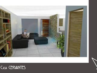 Render Interior - Casa Cervantes: Salas de estilo moderno por Axonometrico