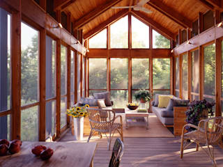 Country style balcony, veranda & terrace by BILLINKOFF ARCHITECTURE PLLC Country