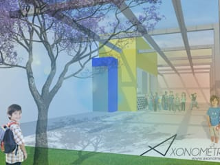 Cafetería y Terraza - Escuela Primaria: Terrazas de estilo  por Axonometrico