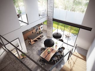 DELTA Minimalist dining room Concrete Grey