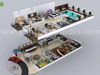 Multi Story Hotel 3D Floor Plan Design Ideas by Yantram floor plan designer South Africa Modern hotels by Yantram Architectural Design Studio Modern Concrete