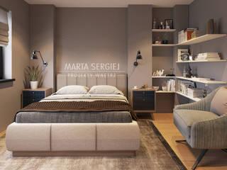 sypialnia z gardrobą: styl , w kategorii Sypialnia zaprojektowany przez marta sergiej - wnętrza