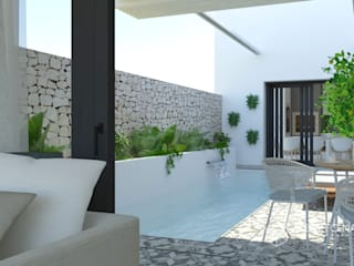 Proyecto de Diseño Interior de casa de pueblo en Bétera, Valencia. Alberto Navarro Arquitectura Interior. Piscinas de estilo mediterráneo de Alberto Navarro Arquitectura Interior Mediterráneo