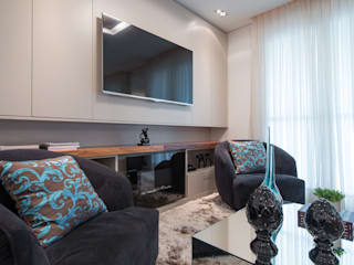 Edifício Inspiration I Ecoville: Salas de estar  por Factus Arquitetura Planejamento Interiores,Moderno