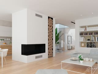 Proyecto de diseño interior para vivienda en Massarrojos, Valencia. Estudio Alberto Navarro Arquitectura Interior Salones de estilo moderno de Alberto Navarro Arquitectura Interior Moderno