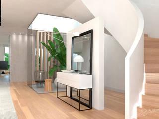 Proyecto de diseño interior para vivienda en Massarrojos, Valencia. Estudio Alberto Navarro Arquitectura Interior Pasillos, vestíbulos y escaleras de estilo moderno de Alberto Navarro Arquitectura Interior Moderno