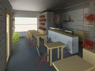 Pizzería Pizzara Salones industriales de Madera de Arquitecto Industrial